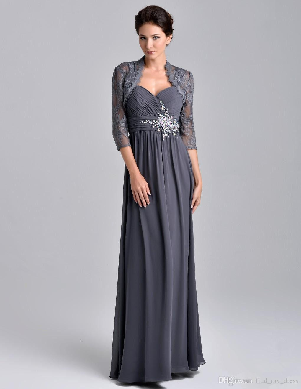 daa4570d9ae 2018 Sweetheart New Crystal Chiffon Gray Mother Of The Bride Dress With  Jacket Lace Floor Length Custom Made Formal Party Gown Best Selling Mother  Of The ...