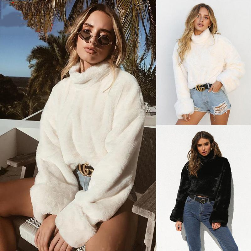 399b904a6 2019 2018 Fashion Women Long Sleeve Loose Turtleneck Sweater Crop Top Coat Pullover  Tops Casual Women Winter Clothes S18100902 From Xingyan01