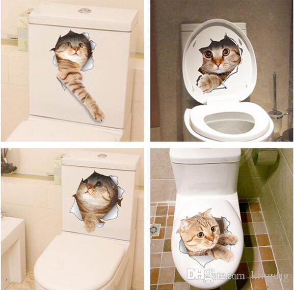 Cat 3d Smashed Switch Wall Sticker Bathroom Toilet Kicthen