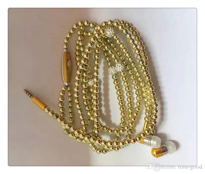 Neue Ankunfts-Luxus-Halskettenperlkopfhörer verdrahtete Kopfhörer-tragbarer Kopfhörer earbuds arbeiten Handykopfhörer mit Mic um