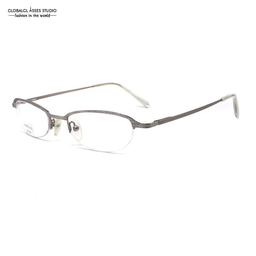 a45e2b8a70905 Compre Retro Metade Aro Oval Lente De Metal Óculos De Prata Xadrez Quadro  De Ponta De Acetato De Prescrição Óculos De Leitura Óptica Lx G11531 De ...