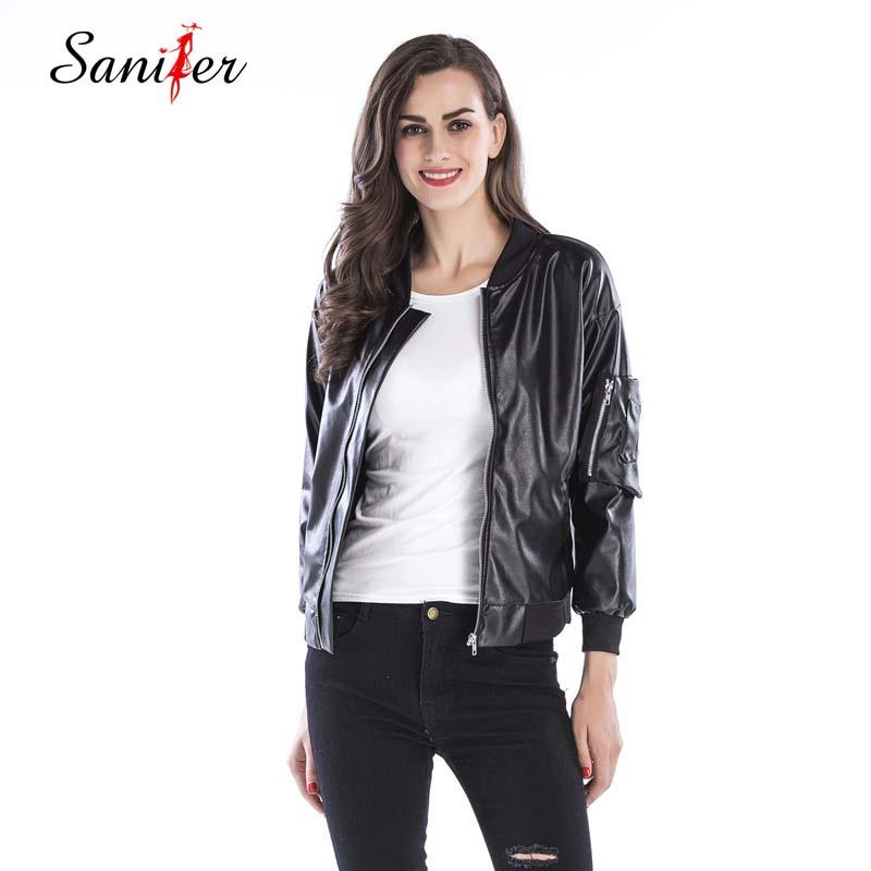 856b587e34c 2019 Women PU Leather Jacket Slim Black Motorcycle Coat Short Faux Leather  Biker Jacket Outerwear Faux Outwear Coat Plus Size From Shuangyin1998