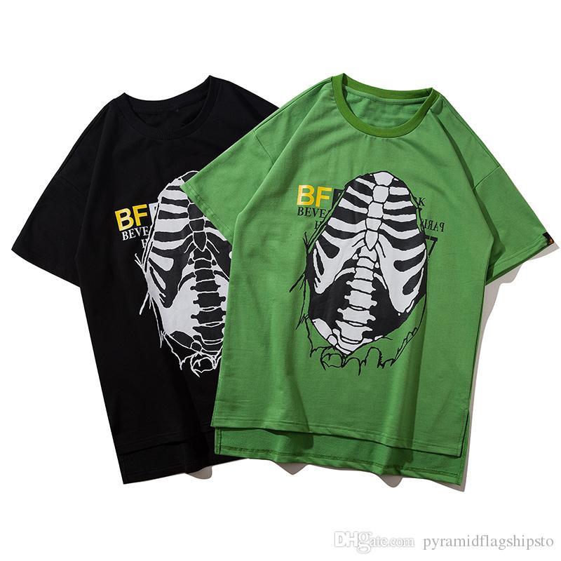 Черепа печати лето с коротким рукавом прилив панк стиль футболка уличная Хабар зеленый футболки мода футболки