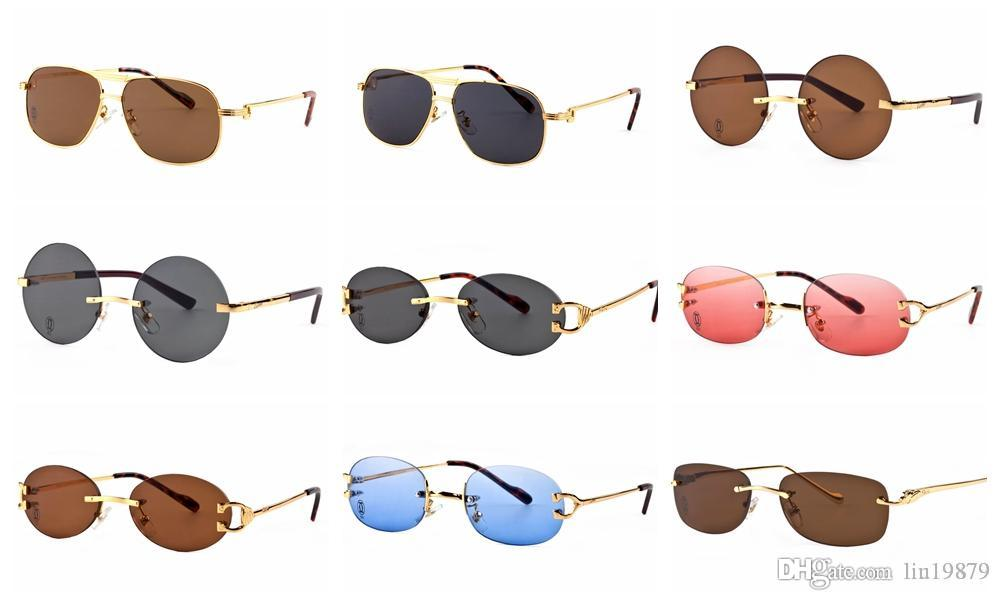 eb638b9416 Brand Star Style Fashion Men Sunglasses Women Rimless Frame Metal Wooden  Legs Sun Glasses Vintage Outdoor Eyeglasses Oculos De Sol Mens Sunglasses  Police ...