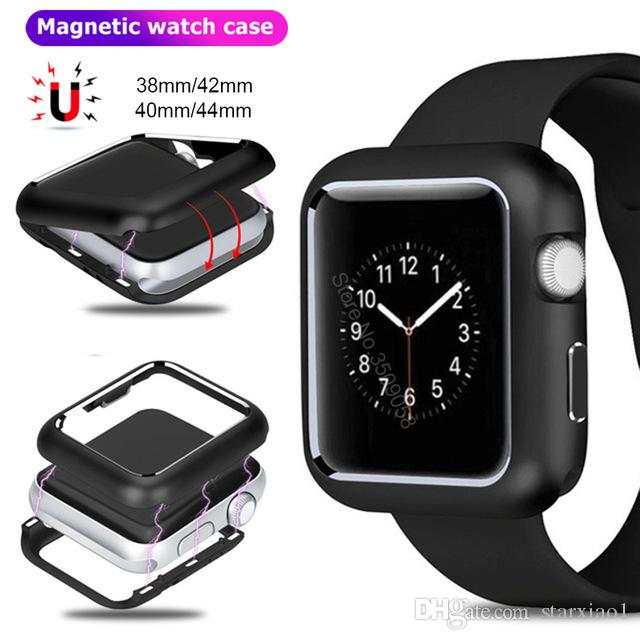 save off 6f6c7 1e166 Luxury Magnetic Adsorption Metal Aluminum Frame Protective cover Case for  Apple Watch 44MM 40MM 42MM 38MM Cover For iWatch Series 4 3 2 1