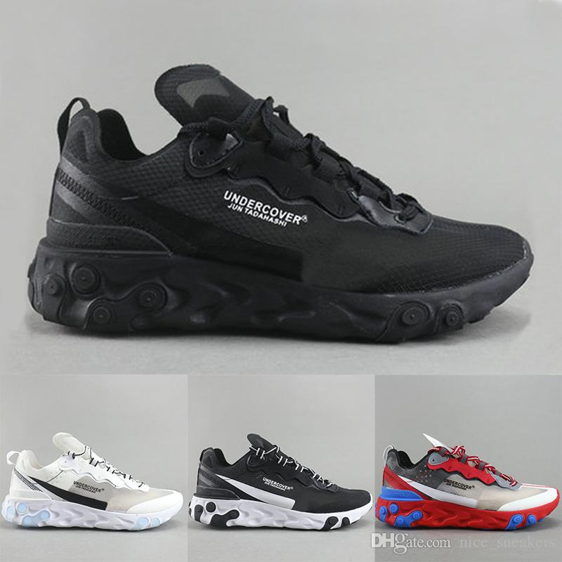 cfcb4554d0586 Epic React Element 87 Undercover Mens Designer Running Shoes Black White  Gold Breathable Mesh Men Women Casual Sports Sneakers Size 36 45 Cheap  Running ...