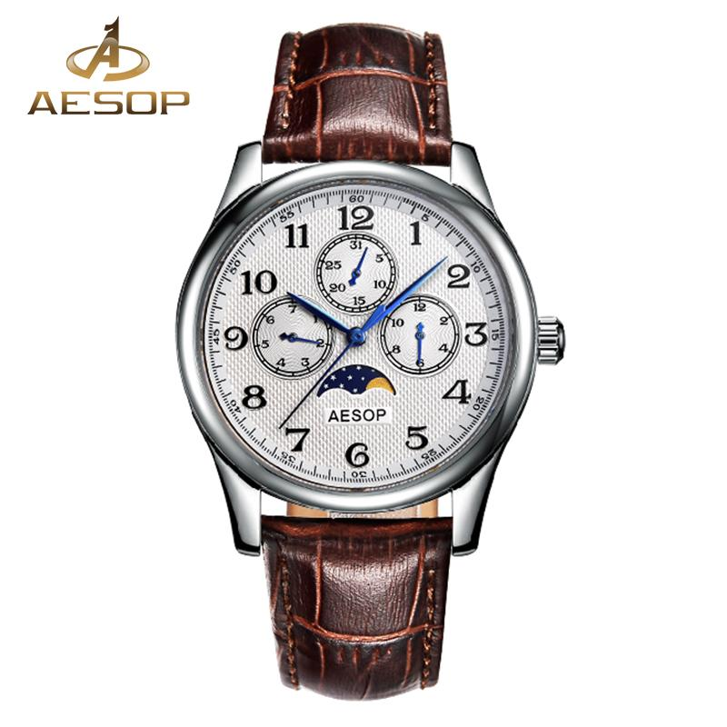 AESOP Fashion Watch Men Sapphire Crystal Quartz Wrist Wristwatch Leather  Strap Auto Date Male Clock Relogio Masculino Hodinky 27 Diamond Watches  Best ... 778cb655a8b