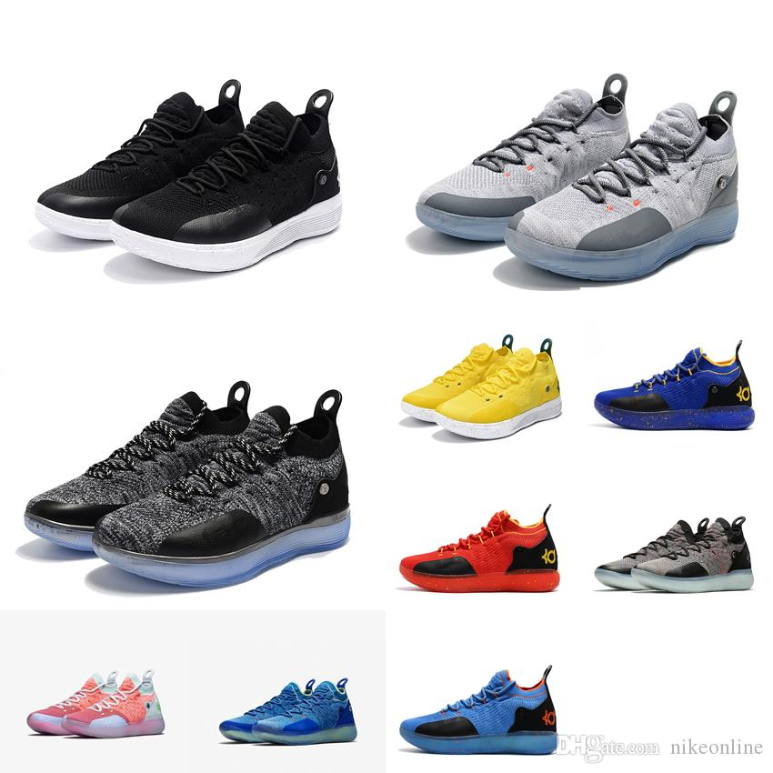Womens Kd 11 Basketball Shoes Wolf Grey Black White Yellow Oreo ... 366f03617