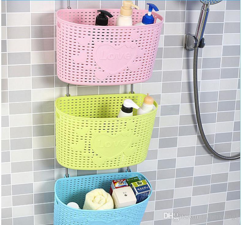 Multi-purpose mini plastic rattan basket with hooks Kitchen and bathroom debris storage storage baskets