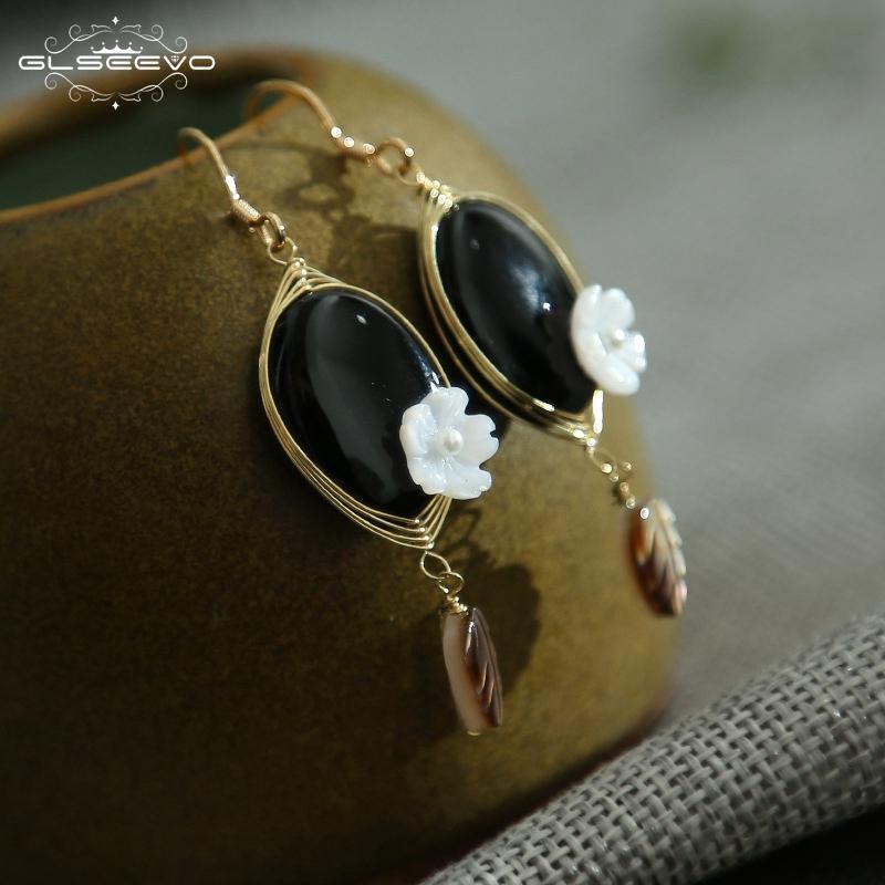 469a57cc9 2019 GLSEEVO 925 Sterling Silver Natural Black Onyx Flower Dangle Earrings  Women Drop Earrings Fine Jewelry Boucle D Oreille GE0440B From Milknew, ...