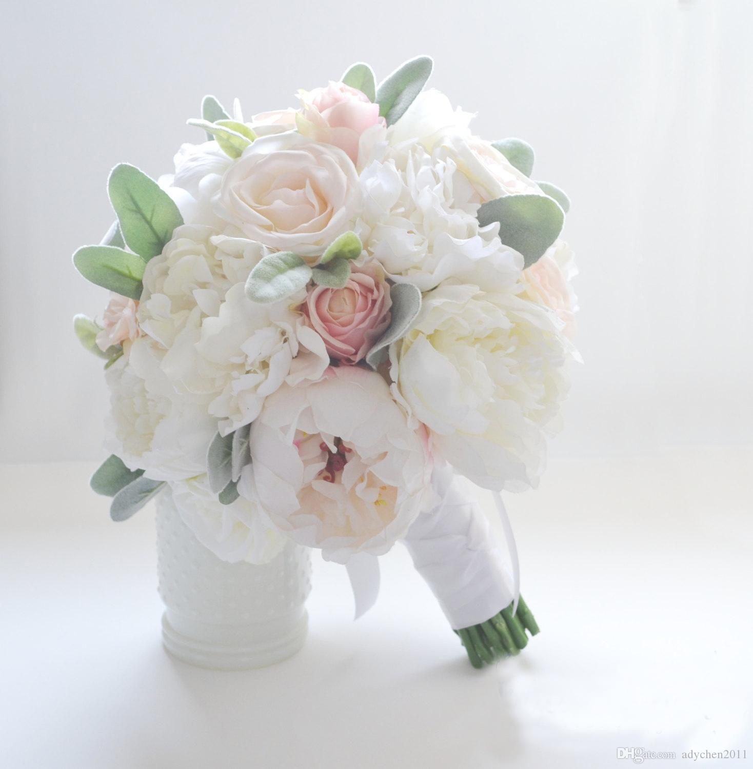Ivory Silk Flowers Peonies Wedding Bouquet Roses For Sale Bridal