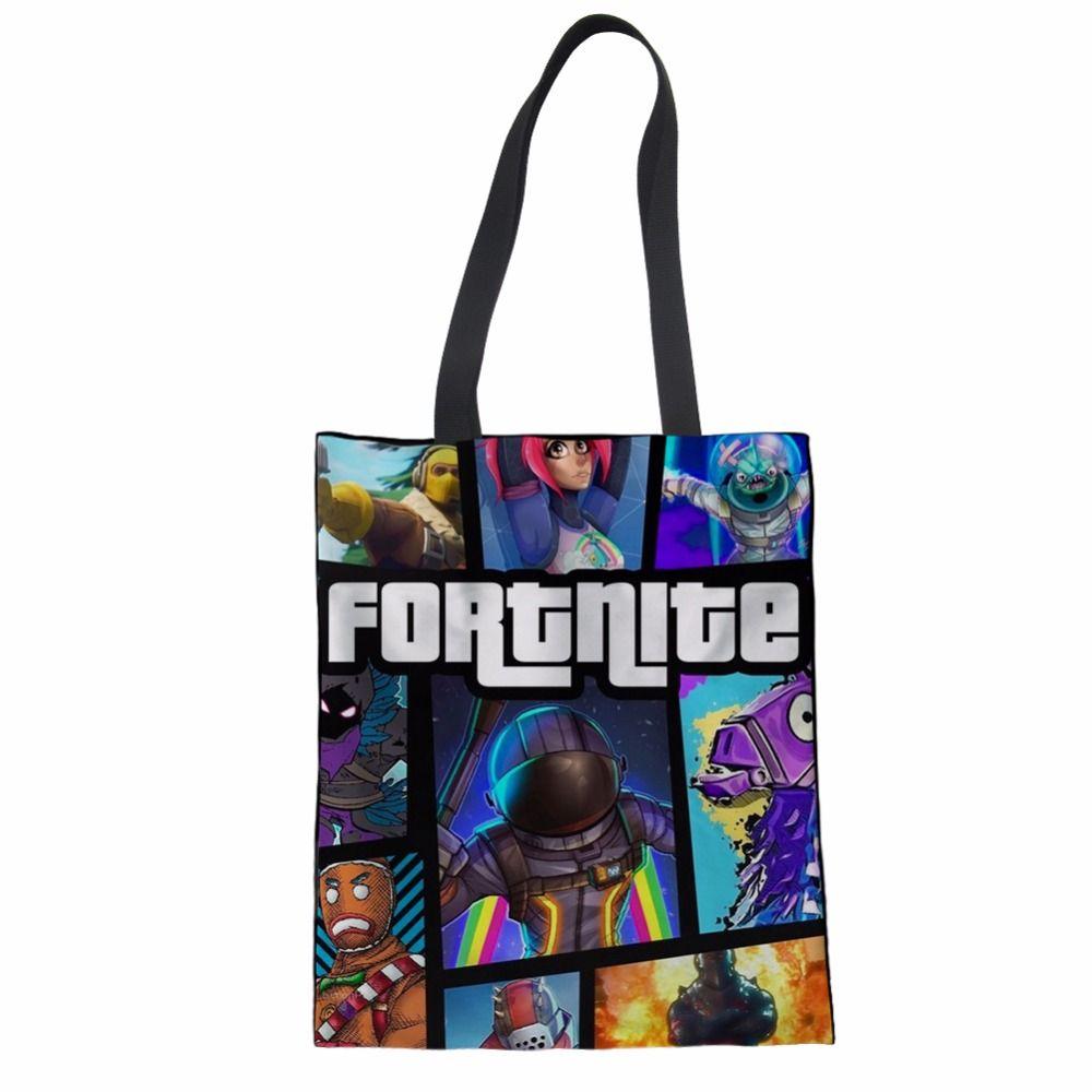 Women Eco Tote Canvas Shopping Bag Fortnite Game Cartoon Handbag Friendly Cotton Portable Folding Capacity Bags Wholesale