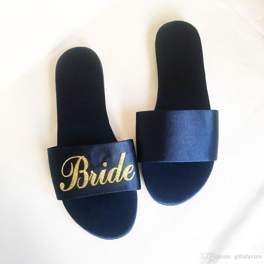3691a24ba9796f 2019 Personalized Wedding Party Gifts Bridesmaid Gift To Bride Maid Of  Honor Satin Slippers Unique From Giftsfavors