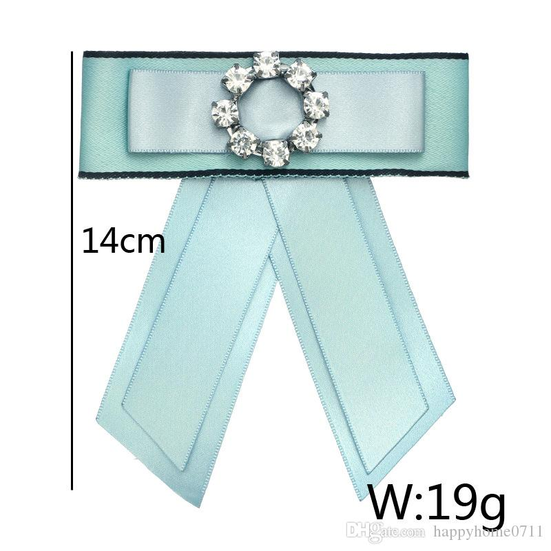 Bohemian retro simple multi-layer ribbon braided bow diamond brooch brooch bow tie party clothing accessories and gifts