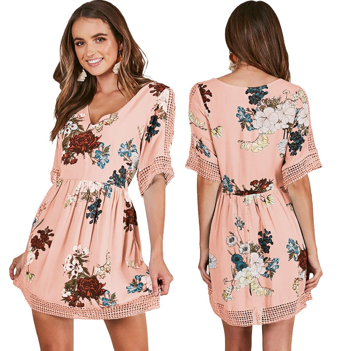 21eeb4a6f09b Summer Fashion Women Floral Print Dress Sexy Deep V Neck Short Sleeve  Hollow Out Pink Dresses Bohemia Vintage Beach Mini Vestidos Tunic Dress  White Dresses ...