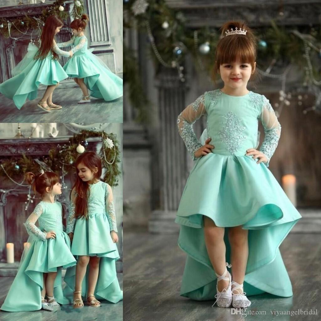 425a50c8c 2018 Cute Mint Green High Low Girls Pageant Dresses Appliques Jewel ...