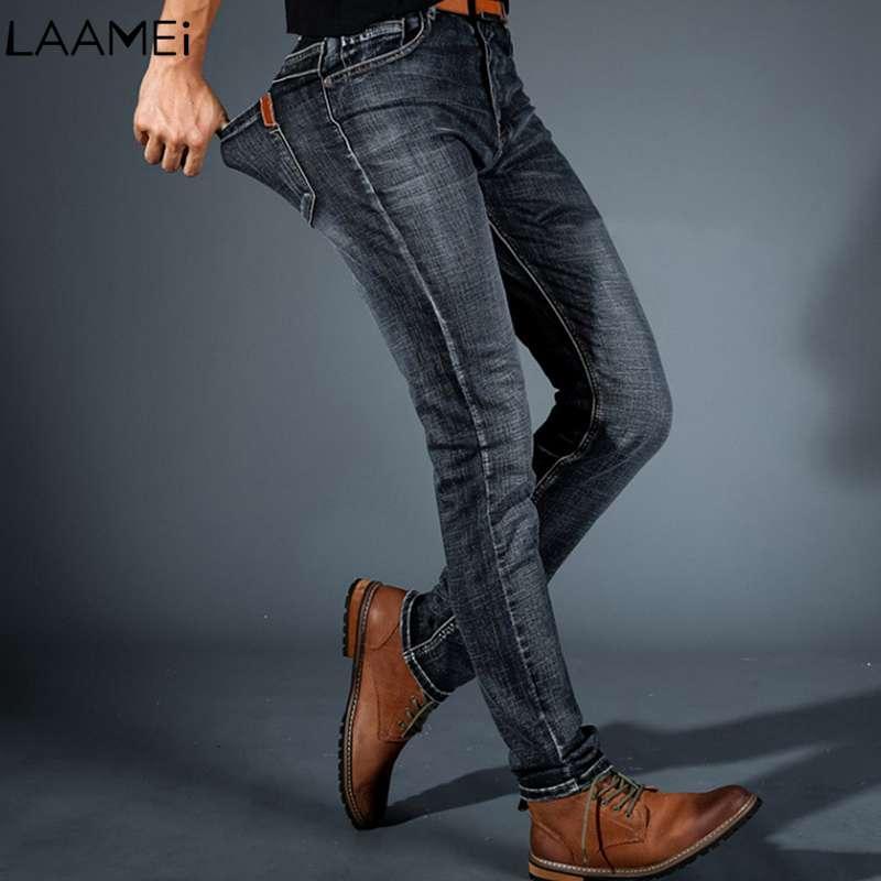 f5623bf97 Pantalones de mezclilla al por mayor Pantalones clásicos para hombre 2018  Nuevo Otoño Invierno Moda hombre Jeans Casual Business Stretch Slim Jeans