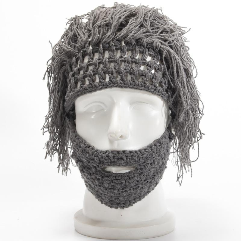9ecf74e71f1 2019 Wig Beard Hats Hobo Mad Scientist Caveman Handmade Knit Warm Winter  Caps Men Women Halloween Gifts Funny Party Beanies From Pearguo