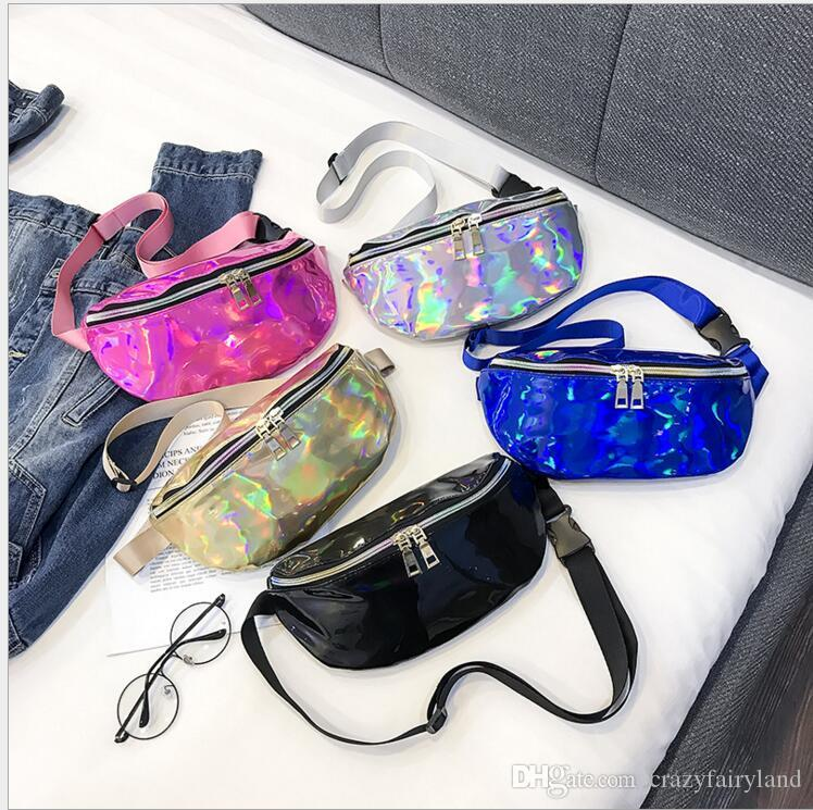 4f141782f6d8 Fanny Pack Laser Girls Waist Bag Multifunction Candy Color PU Bags Fashion  Phone Bags Travel Laser Belt Bag Cool Wome Men Gifts 5 Colors