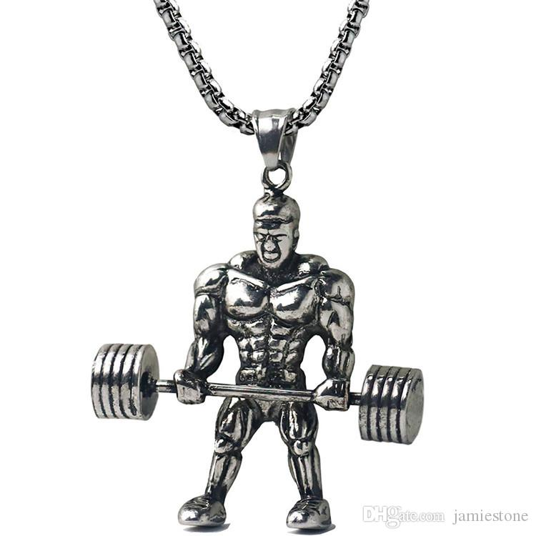 Wholesale Surgical Steel Jewelry Jewellery Metal Muscle Man Pendant Necklaces NM020