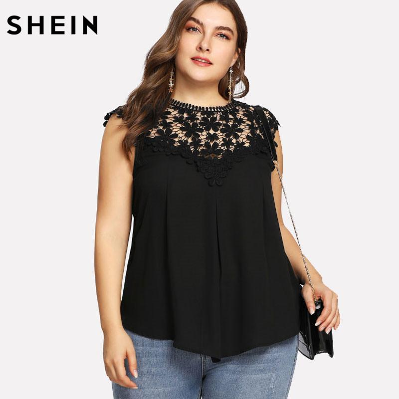 0b74d93045cc92 2019 SHEIN Plus Size Black Lace Sleeveless Blouse Women Summer Keyhole Back  Daisy Lace Shoulder Shell Top Big Size Elegant Blouse From Ruiqi01, ...