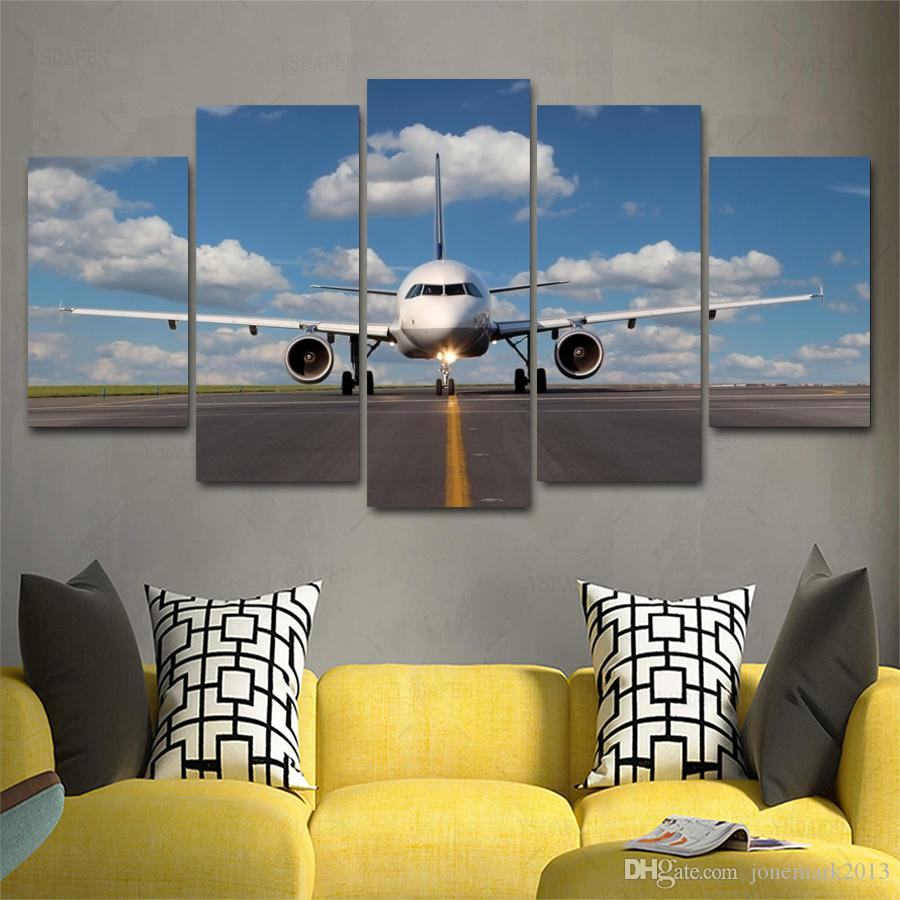 2018 Aircraft Painting 5 Panels Canvas Paintings Wall Decor Wall Art For  Living Room Home Office Decor Framed Art From Jonemark2013, $36.06 |  Dhgate.Com