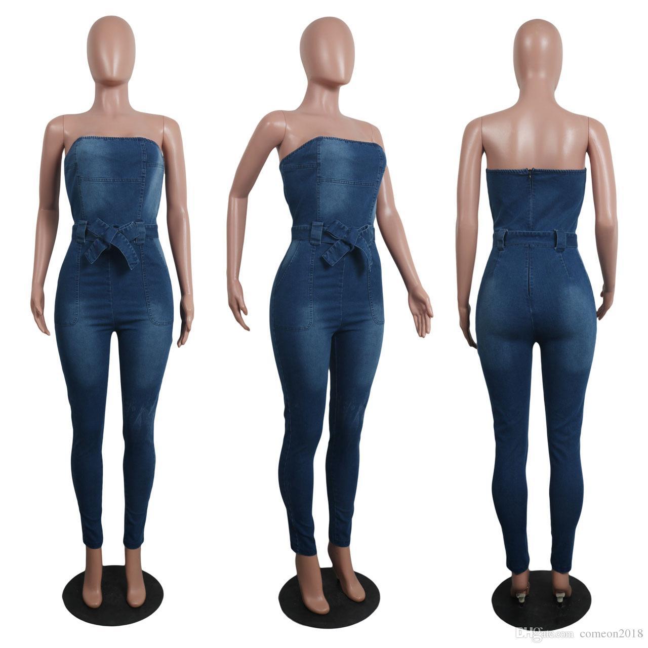 여성 Jumpsuituits 데님 패션 Rompers 섹시한 탄성 여성 보우 브래지어 Jumpsuit 청바지 민소매 캐주얼 점프 슈트 캐주얼 오버 올즈