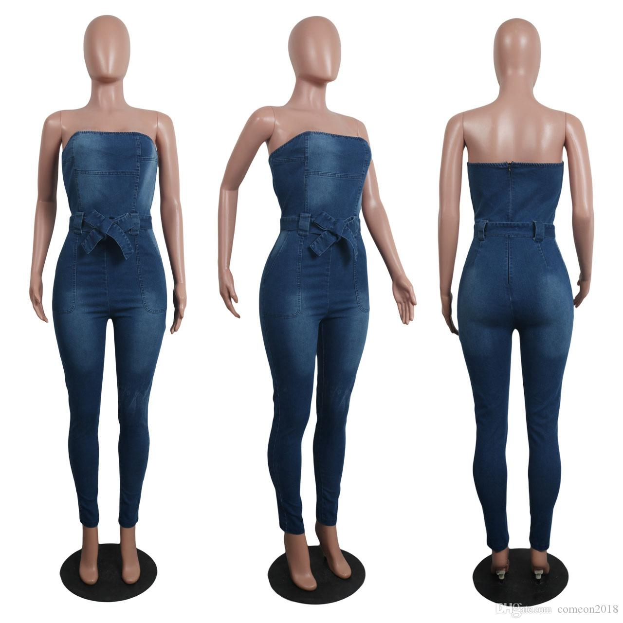 Womens Jumpsuits Denim Fashion Rompers Sexy Elastic Women Bow Bra Jumpsuit Jeans Sleeveless Casual Jumpsuit Casual Overalls