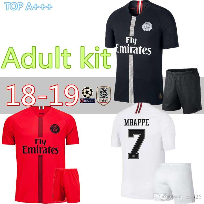 huge discount 163e7 da57a 18 19 Champions League home away third PSG soccer jersey kit Paris saint  gell jerseys shirt kit uniform MBAPPE CAVANI footba
