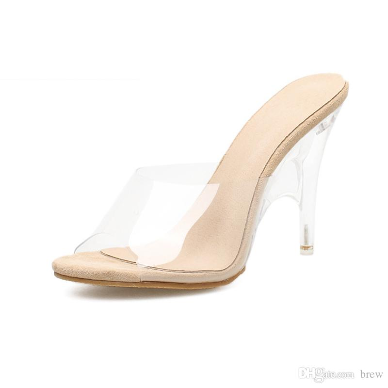 fa3b2f8e9a22 Wholesale 2018 New Fashion Shoes Pvc Clear Sandals For Women High Heels  Slippers Wedding Party Shoes Nude Wedges Bridal Shoes From Brew
