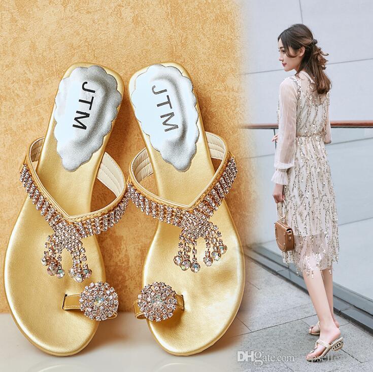 b421a1e7971c9 SILVER+GOLD Summer Women s Rhinestones Slippers Fashion Sandals ...