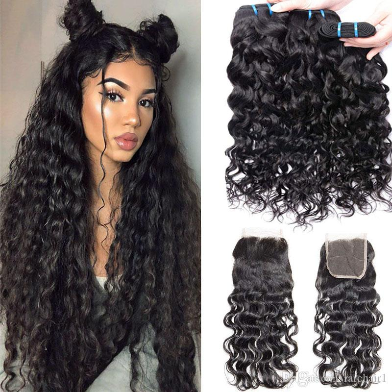 Indian Human Hair Weave 3 bundles with Closure