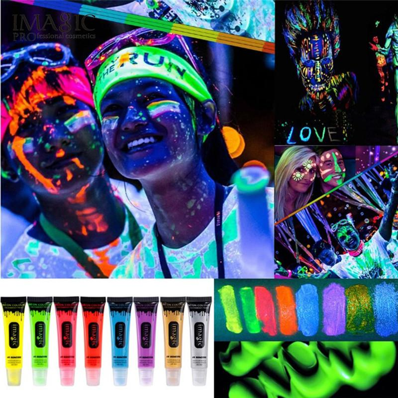 IMAGIC 8Colos NEON COLOUR FACE BODY PAINT 13ml Fluorescent Rave Festival  Painting Under The UV Lamp Party Body Fluorescence Create My Own Tattoo  Create Your ... b8a3dce426