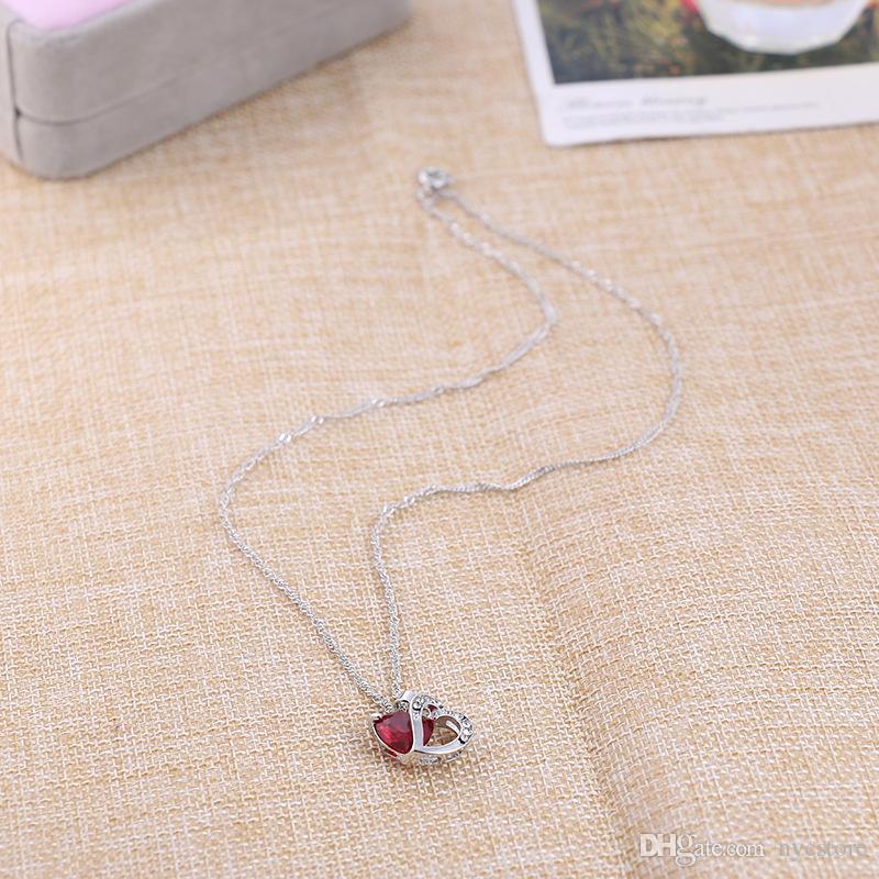 925 Sterling Silber Platte Herz Choker Halskette Frauen Halsketten Kristall Anhänger Schmuck Kristall Edelstein Amethyst Herz Halskette Geschenk