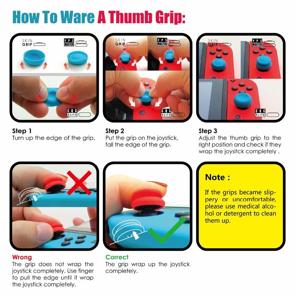 Skull Co 6 in 1 Thumb Grip Set Joystick Cap Thumbstick di copertura Nintend Interruttore Joy-Con controller