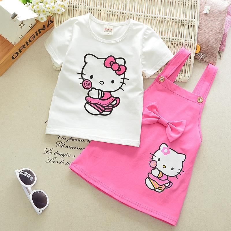 2018 Summer Toddler Cartoon Cat Cotton Pattern Girls Short Sleeve Straps Skirt Paper Set Children Product Baby Top Suit For 0-4Y