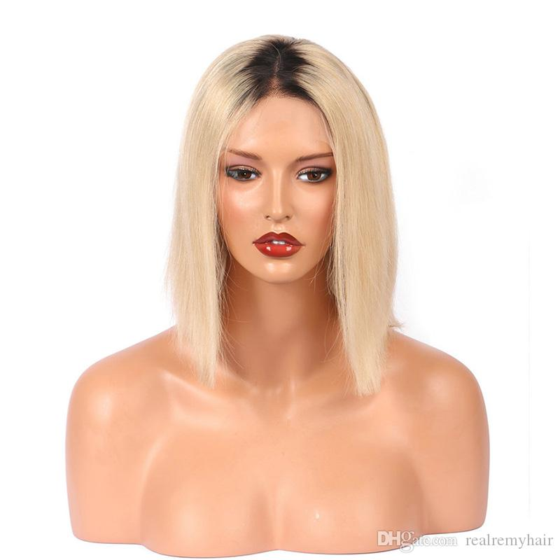 Pre Plucked Ombre Brazilian Short Human Hair Wigs For Black Women Brazilian Straight 613# Blonde Lace Front Bob Wigs With Baby Hair