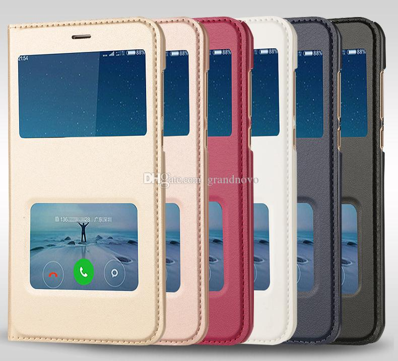 Fashion Dual View Window Slim Protection View Smart Leather Phone Flip Cover Coverage Hard Case For Xiaomi 6 MAX 2 Note 3 Redmi 5 Plus 4x 5a