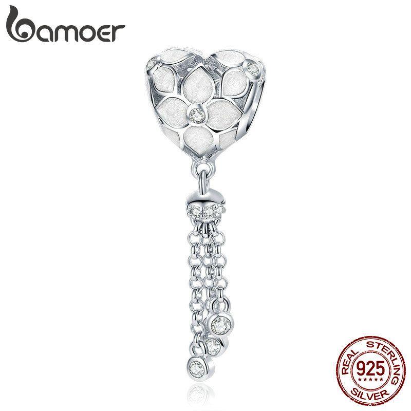 Pandora Style Genuine 925 Sterling Silver Crystal Flower Heart Love Shape  Tassel Charm Fit Bracelets Bangles DIY Jewelry Making BSC028 Online with ... c48e578f5da9