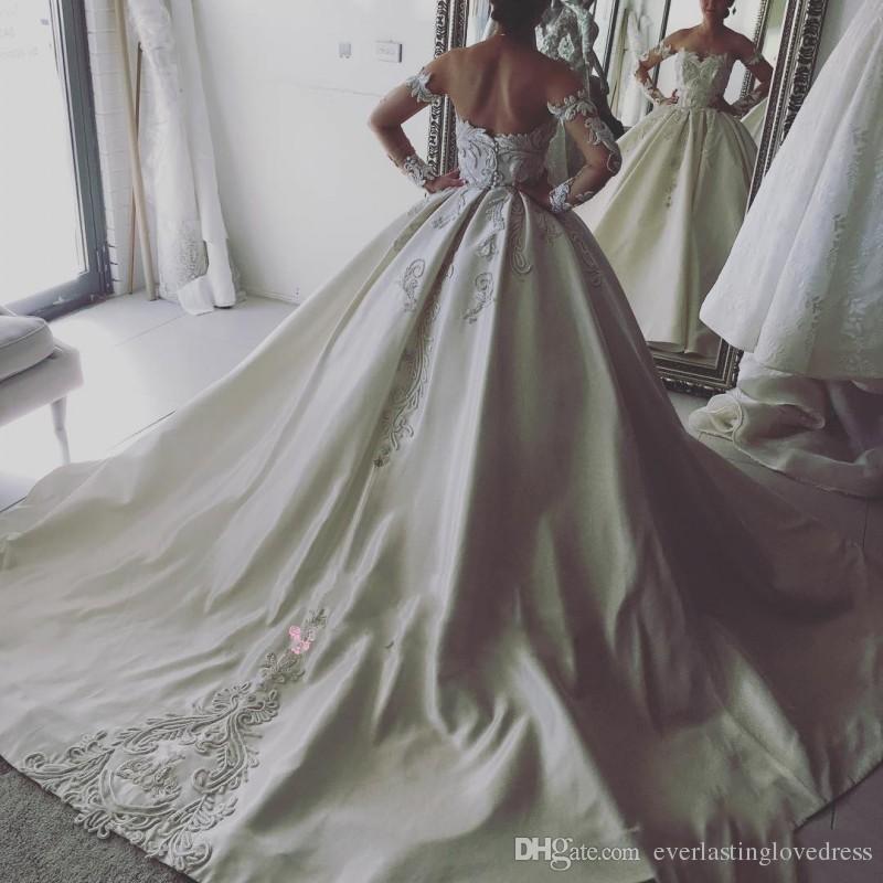 Satin dentelle Appliqued bal robe de mariage de l'épaule manches robe de Noiva manga com longa