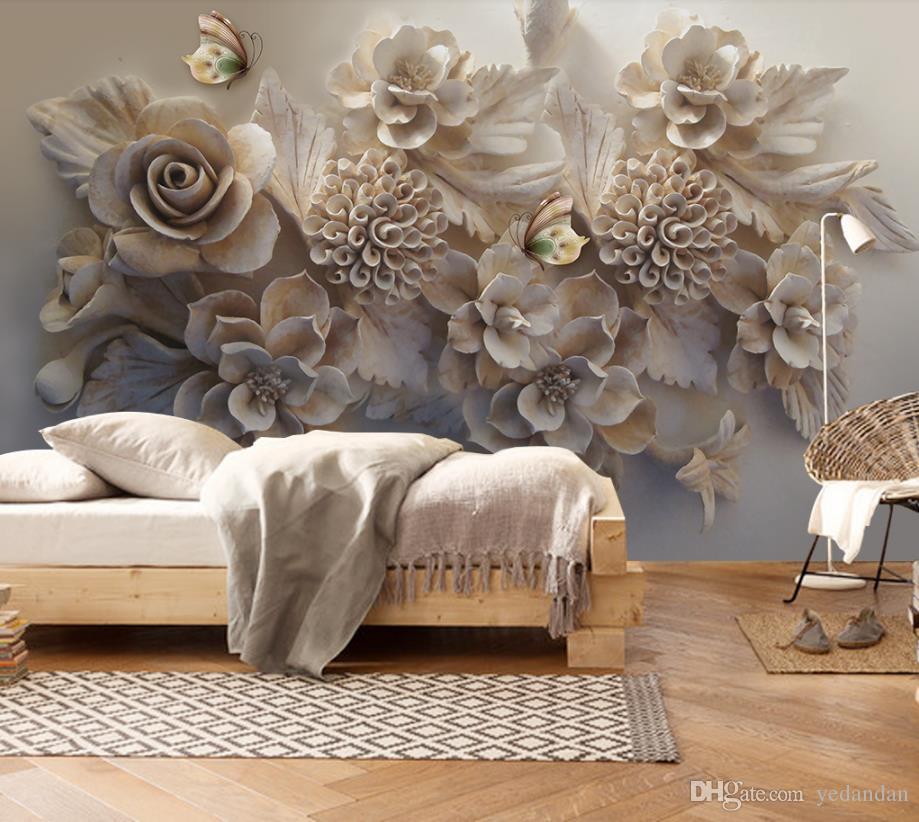 Custom Nonwoven Wallpaper Embossed 3D Flower Butterfly TV