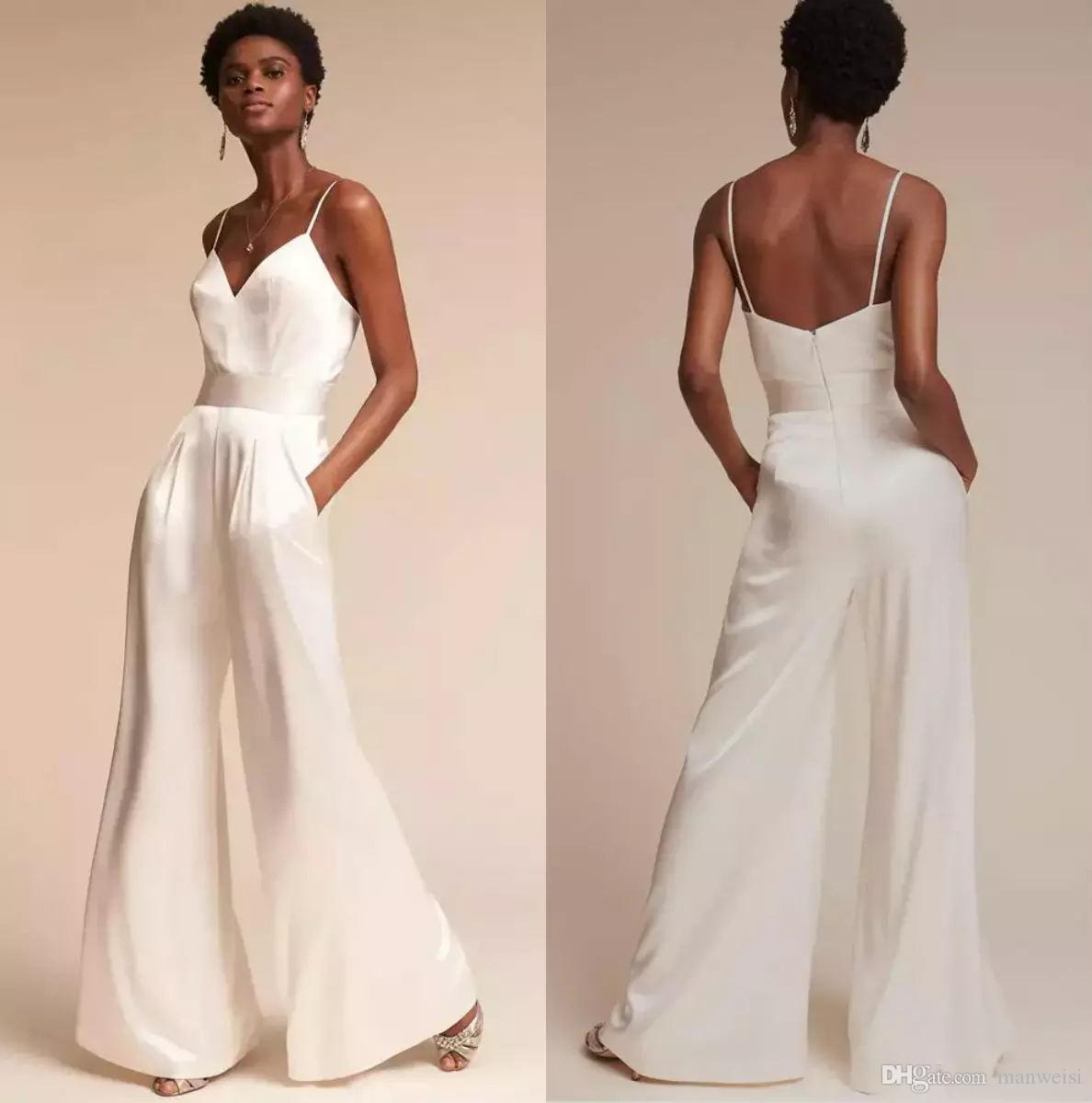 Designer Jumpsuit Bridesmaid Dresses For Wedding Sexy Spaghetti Neck