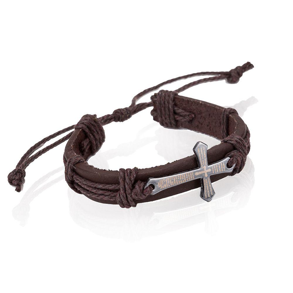 2018 Vintage Men's Cross Bible Verse Leather Bracelet Braided Leather Bracelet