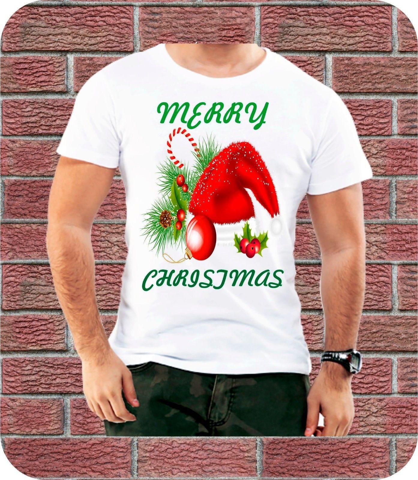 d616db59 Merry Christmas Hat Present Men T Shirt Xmas Gift Tree Candy Cane Red Santa  Snow Cartoon T Shirt Men Unisex New Fashion Tshir Latest T Shirt Designs  Coolest ...