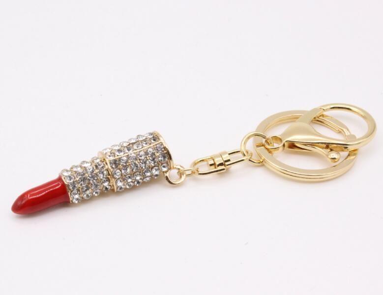 Очарование Кристалл брелок помады держатель ключа горный хрусталь брелок брелок брелок Красная Роза кулон брелок кольца женщины ювелирные изделия 4 цвета