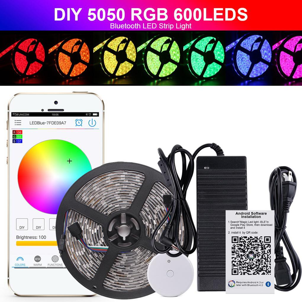 5m 10m 5050rgb led strip waterproof color changing rope lights bluetooth controller for home and christmas outside string lights hanging string lights from