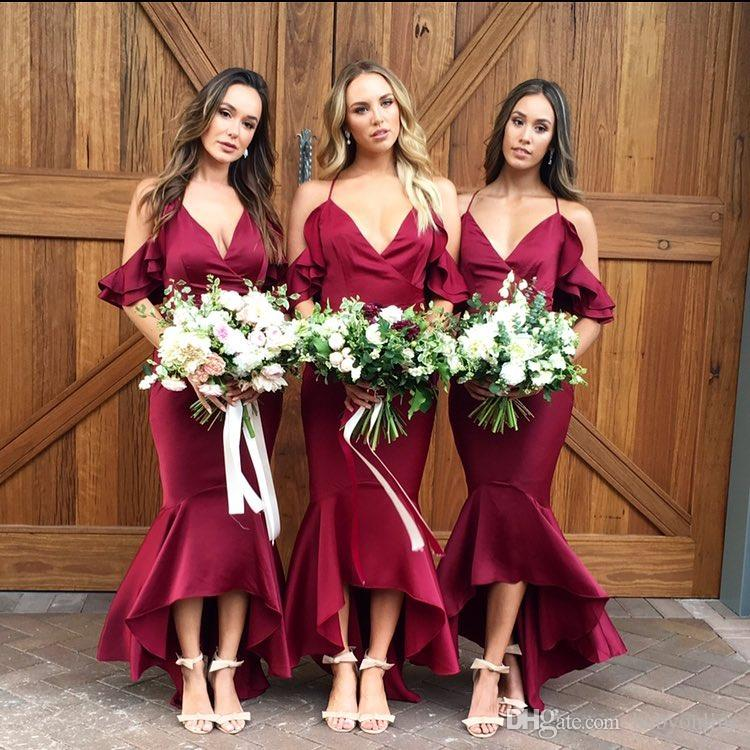 406259cd1c8 Burgundy High Low Mermaid Bridesmaids Dresses For Summer Boho Garden Beach  Weddings Sexy Spaghetti Straps Long Maid Of Honor Gowns Grecian Style  Bridesmaid ...
