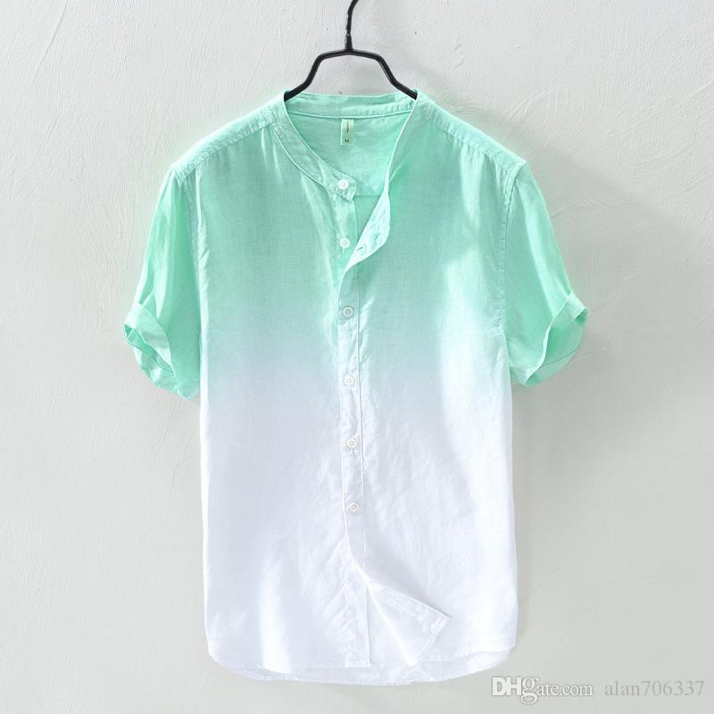 c6ca353ca4 Compre Para Hombre 100% Camisas De Lino De Color Degradado De Manga Corta Camisas  Casuales Collar De Mandarina De Los Hombres De Verano Slim Fit Camisas De  ...