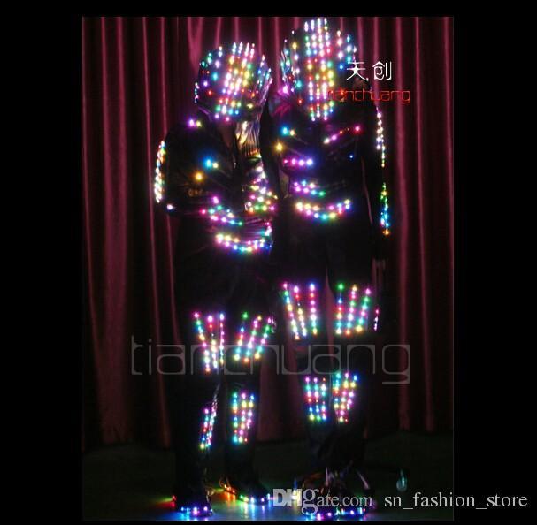 TC-67 LED colorful light robot costumes Full color party wear ballroom dance led RGB helmet nightclub programmable cloth led men performance