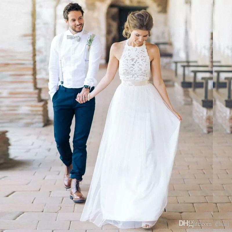 Robe de Mariage 2020 Yaz Beyaz / Fildişi Tül Dantel Bohemya Beach Gelinlik Basit Halter Boyun Backless Gelinlikler vestidos de Noiva